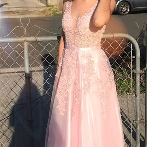 Baby Pink Embroidered Ball Dress/Prom/Homecoming